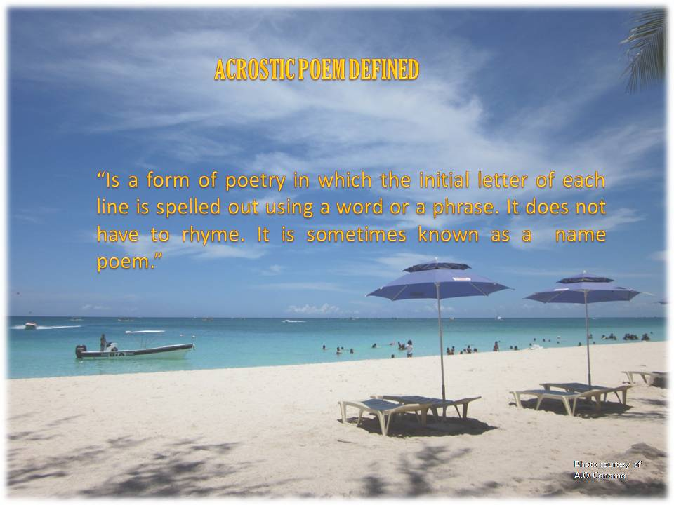 "alt= ""Explore and experience the fine, white sand of the paradise island of Boracay Island, Philippines. And write a wonderful acrostic poem while sitting down on it's finest sand."""