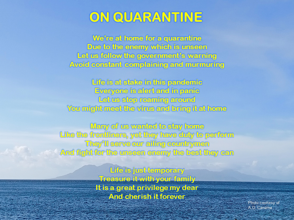 "Alt=""Poem about home quarantine/ lockdown. Let us stay safe and calm at home."""
