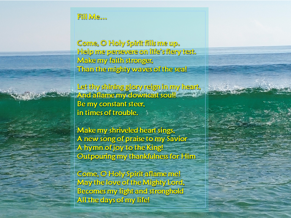 """Alt= A poem about life's affliction. In this challenging times we need to fill up our emptiness with God's love and mercy."""""""