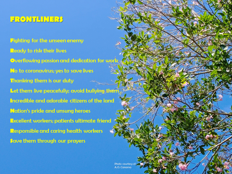 "Alt= ""poem about frontliners. They are like this tree that bloom in times of crisis."""